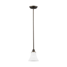 Sea Gull 6113201BLE-715 - Fluorescent Metcalf One Light Mini-Pendant in Autmun Bronze with Satin Etched Glass