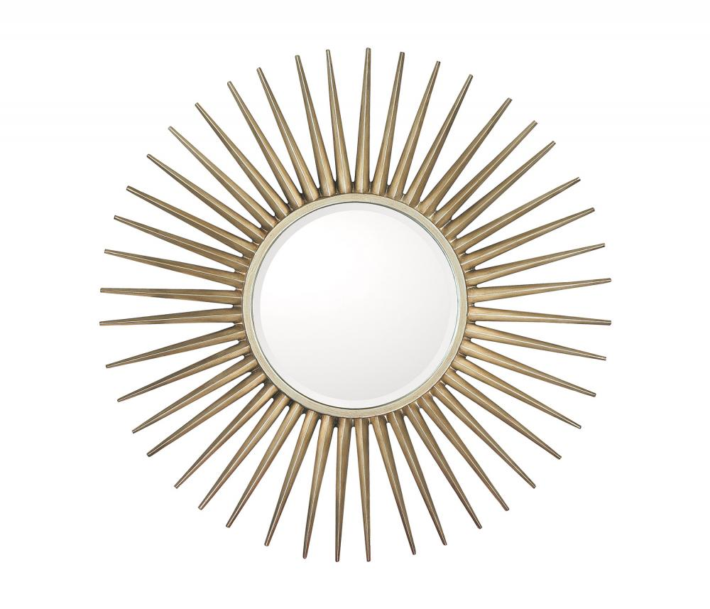 "Brushed Silver Frame With Beveled Mirror; Inner Mirror 14.5"" Round"