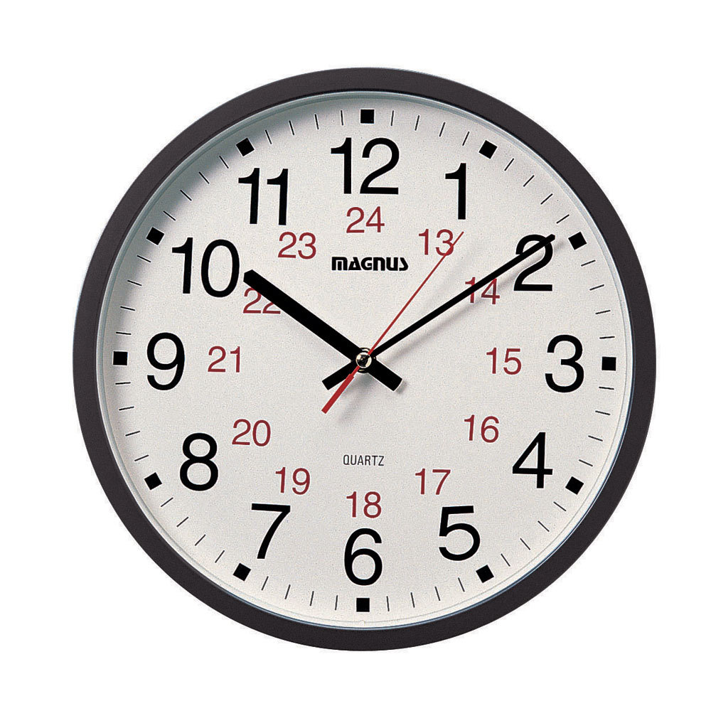 "Magnus -12"" Office Clock 12/24"
